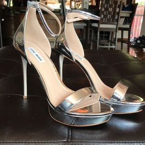 Steve Madden Chrome Silver Stiletto Heels Open Toe